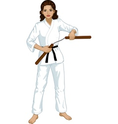 Indonesian Nunchuck girl in karategi vector image