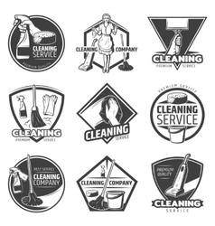 Monochrome Cleaning Service Labels vector image vector image