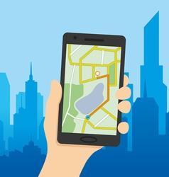 Navigation map on a smart phone vector