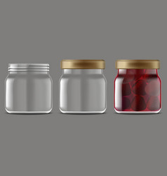 realistic detailed 3d strawberry jam glass jar set vector image vector image