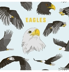 Set of eagles pattern vector image vector image