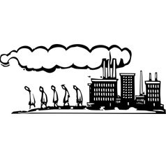 Workers leave factory vector image