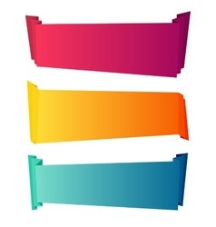Curved color paper banners isolated on white vector image vector image