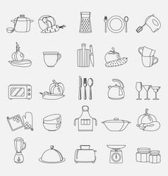 kitchen utensils household vector image vector image