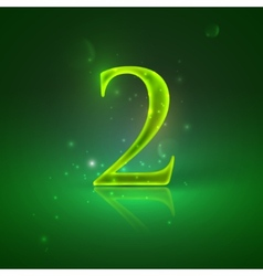 2 Green glowing number two vector
