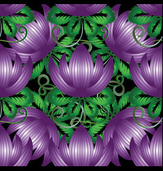 3d purple flowers seamless pattern vector image