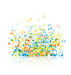 abstract music background with color notes vector image