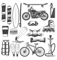 Activity sport and hobby equipment icons vector