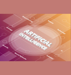 ai artificial intelligence words isometric 3d vector image