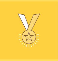 award honor medal rank reputation ribbon flat vector image
