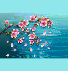 background wooden texture with branch of sakura vector image