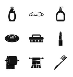 Bathroom accessories icons set simple style vector