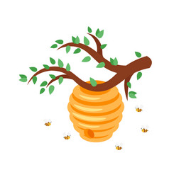 bee hive with flying bees vector image