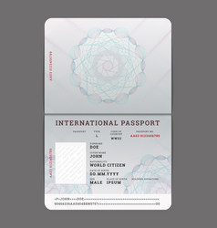 Blank open passport template vector