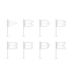 blank white 3d flag mockup set vector image