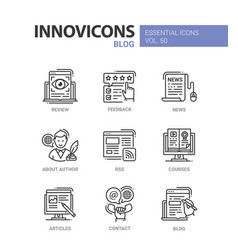 Blog - modern line design icons set vector