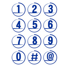 blue grunge brush strokes numbers set vector image