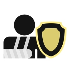 Broken arm and shield icon flat style vector