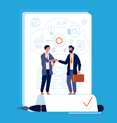business agreement handshaking person partnership vector image