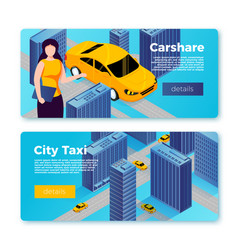 Car share and taxi service banners concept vector