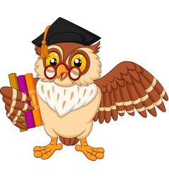 cartoon owl holding a book vector image