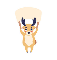 Cartoon reindeer holding vector