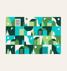 city small town geometric abstract landscape vector image