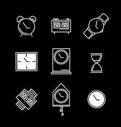 Clock sign and symbol set vector image