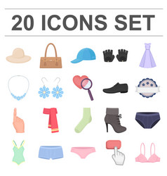 Clothes and accessories cartoon icons in set vector