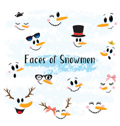 collection of hand drawn cute snowman faces vector image