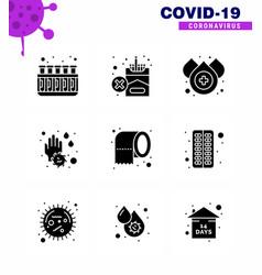 corona virus 2019 and 2020 epidemic 9 solid glyph vector image