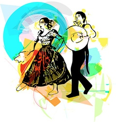 Couple dancing marinera vector image