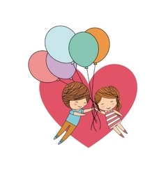 Couple of kids cartoon heart and balloons icon vector