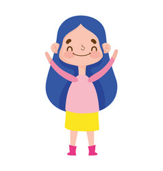 cute girl expression emotion gesture cartoon vector image