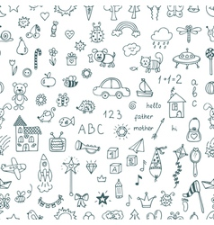 Cute hand drawn children drawings seamless pattern vector image
