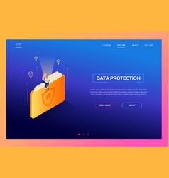 Data protection - modern isometric web vector