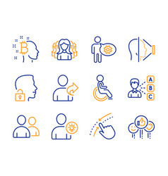 disabled swipe up and users icons set opinion vector image