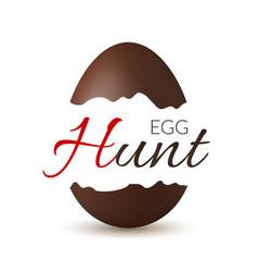 easter broken egg 3d egg hunt text chocolate vector image