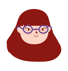 face young woman with glasses female character vector image