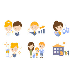 Family lifestyle icons set wedding business vector
