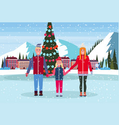 Family skaters standing ice rink decorated vector