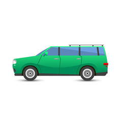 flat green car vehicle type design sedan style vector image