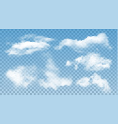 Fluffy clouds atmosphere assortment set vector
