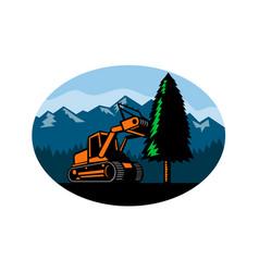 Forestry mulcher tearing tree oval retro vector