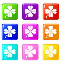 four leaf clover set 9 vector image