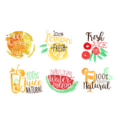 fresh natural juice labels set orange lemon vector image