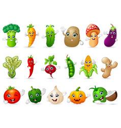 Funny various cartoon vegetables vector