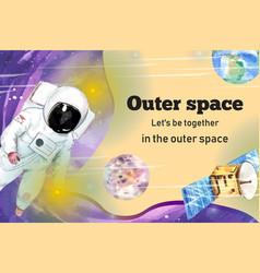 Galaxy frame design with astronaut satellite vector
