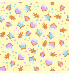 Gingerbread pattern for christmas design vector