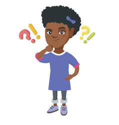 Girl standing under question and exclamation marks vector